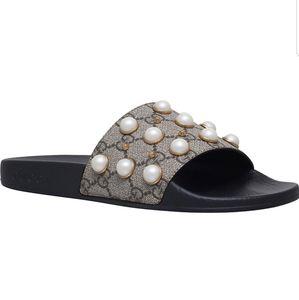 NWT Gucci Pearl Embellished Slide Sandals